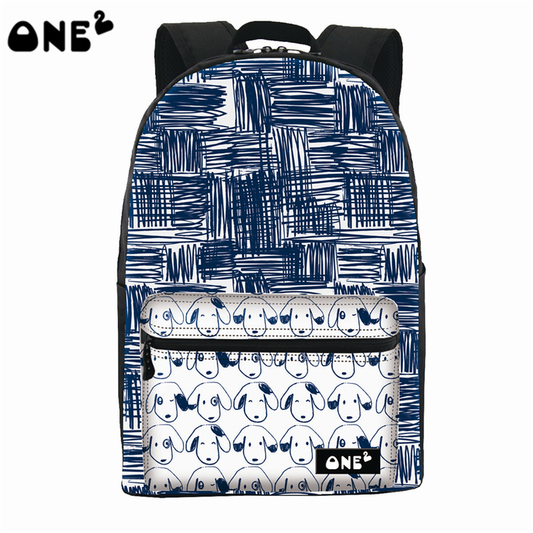 ONE2 Design drawing dog pattern school bag nylon printing laptop backpack for students ladies teenager girl high school children one2 design colorful 600d polyester school bag laptop backpack ice cream for university students women man teenager boys girls