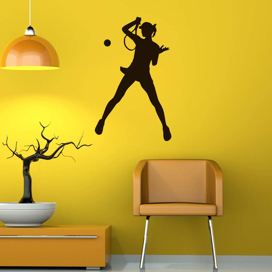 DCTOP Female Tennis Player Wall Sticker Vinyl Diy Mural Art For Living Room Kids Room Gymnasium Decoration Color Black Pattern