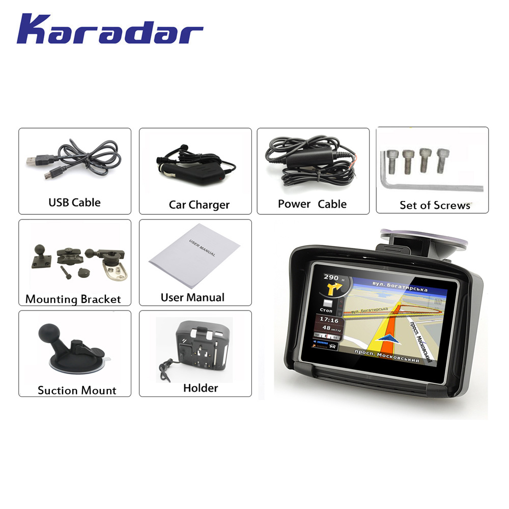 KARADAR Waterproof Motorcycle GPS 4 3 Inch Win CE 6 0 Car GPS Navigator Built in