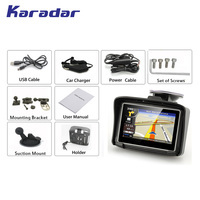 KARADAR Waterproof Motorcycle GPS 4.3 Inch Win CE 6.0 Car GPS Navigator Built in 8G Map