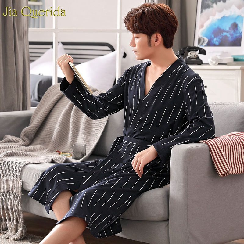 Men's Robe Black Stripe Printing Luxury Men Home Clothing Bathrobe 100% Cotton Chinese Mens Bath Robe Belted Long Sleeves Robes(China)