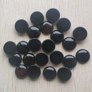 Image 1 - Toptan 20 adet/grup Moda kaliteli Doğal siyah oniks yuvarlak cabochon 20mm boncuk takı aksesuarları için yapımı ücretsiz