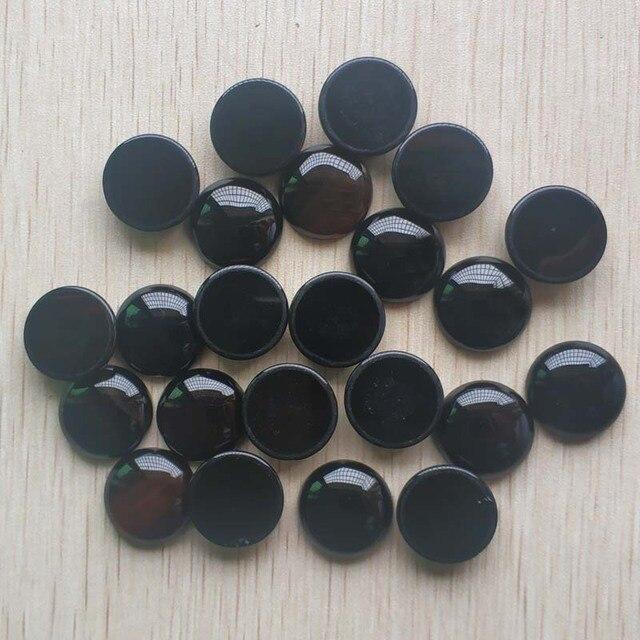 Toptan 20 adet/grup Moda kaliteli Doğal siyah oniks yuvarlak cabochon 20mm boncuk takı aksesuarları için yapımı ücretsiz