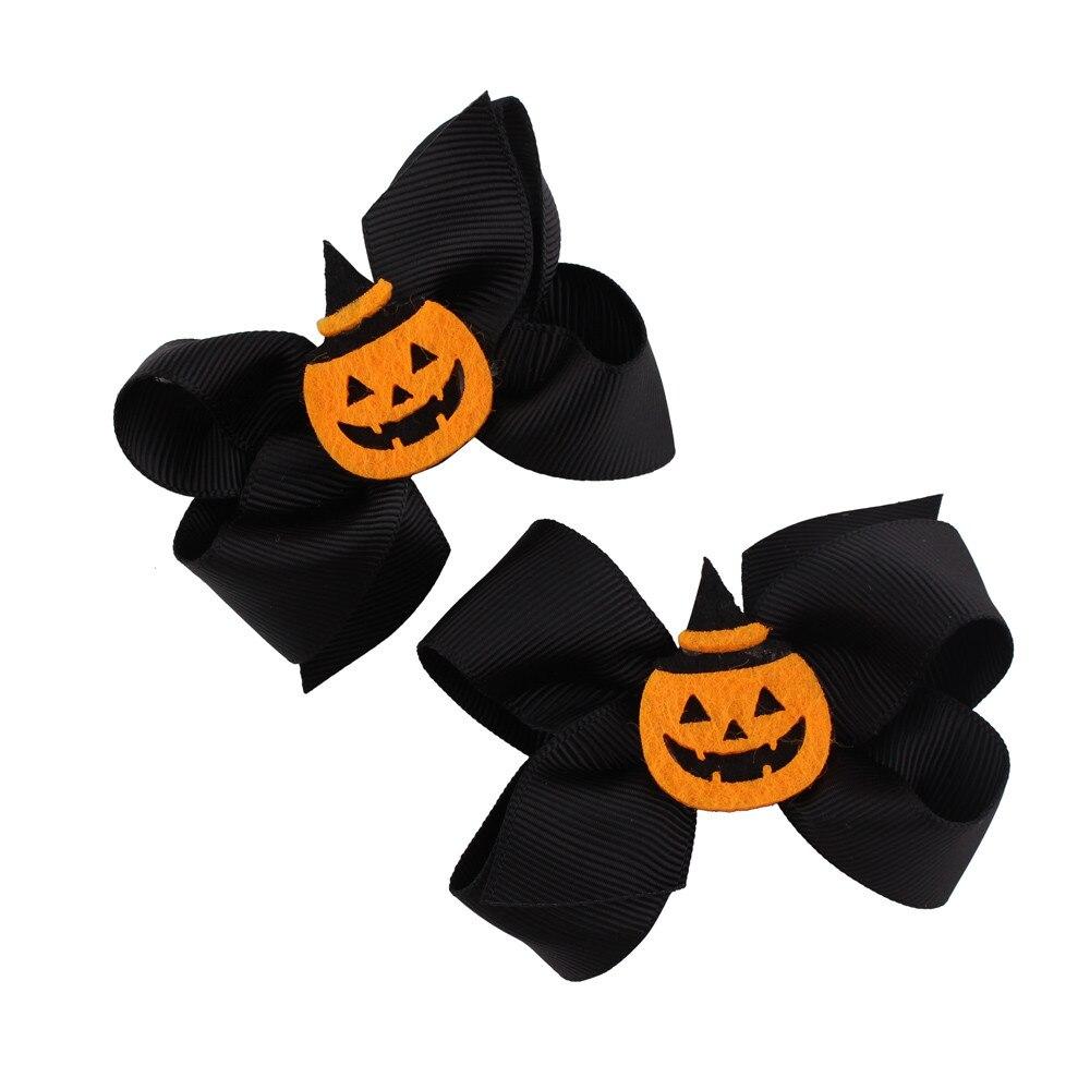 2017 1 Pair Fashion Halloween Toddler Baby Kids Girls Bowknot Hairpin Headdress