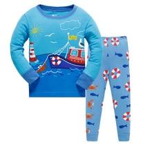 2019 children Autumn Pajamas clothing Set Boys Boat Sea Cartoon Sleepwear Suit Set kids long-sleeved+pant 2-piece baby clothes стоимость