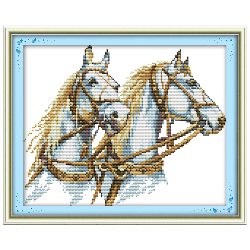 3th Free Shipping !!Two Horse Counted 11CT 14CT Cross Stitch animals Cross Stitch Kits for Embroidery Needlework Crafts