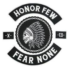 HONOR FEW FEAR NONE 13 BACKING Embroidered punk biker Patches Clothes Stickers Apparel Accessories Badge