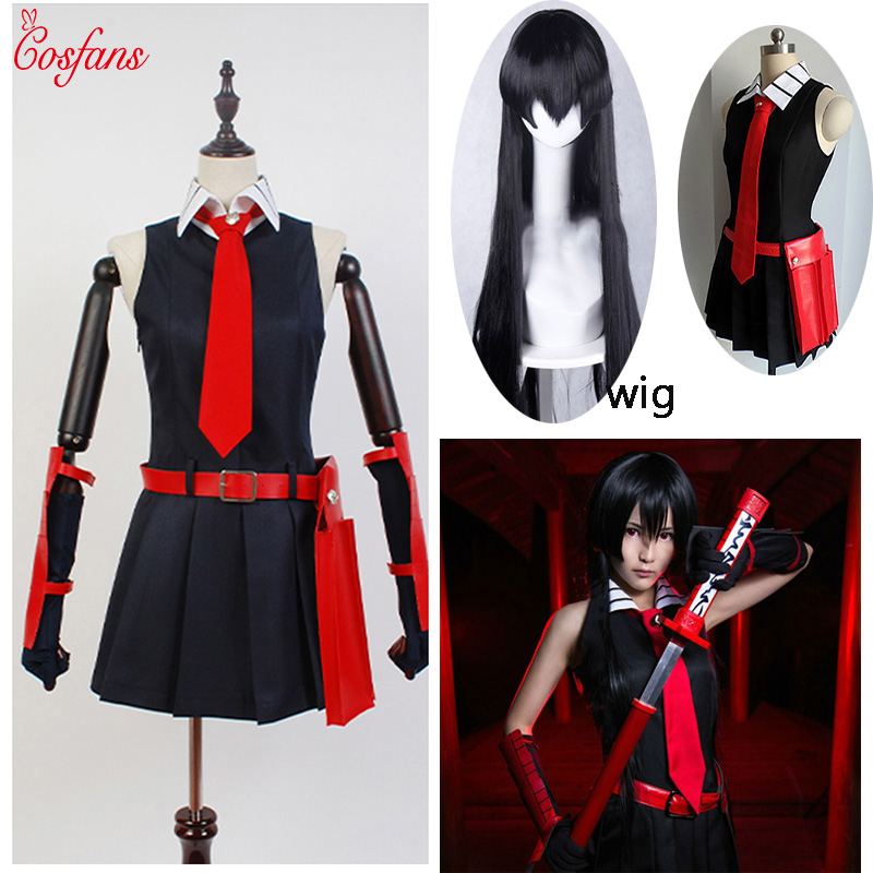8PCS Akame Ga KILL Akame Cosplay Black Sleeveless Dress Uniform Outfit Anime Cosplay Costumes And Wig Glove Sock Christmas Party