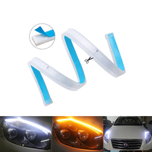 2 pcs Esnek Çift Renk Beyaz/Amber Akan LED Şerit Tüp Işıkları DRL Su Geçirmez Macun Dışında Doğrudan için Araba yedek