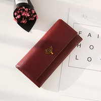 Luxury Fashion Purse Genuine Leather Wallet Women Long Style Cowhide With Tree Coin Purse Card Holder