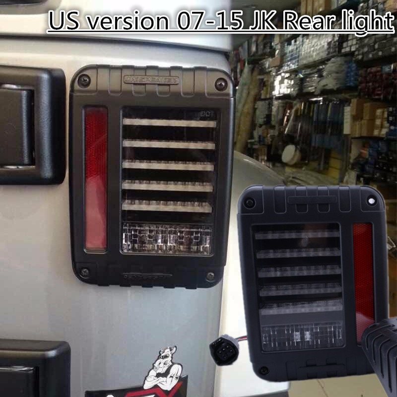 1 Pair US Version 07-15 wrangler JK LED Taillight 12v LED Tail light for Je ep  with Free shipping (Only US version) taillight light guard cover for 2007 2017 jeep wrangler accessories jk unlimited pair