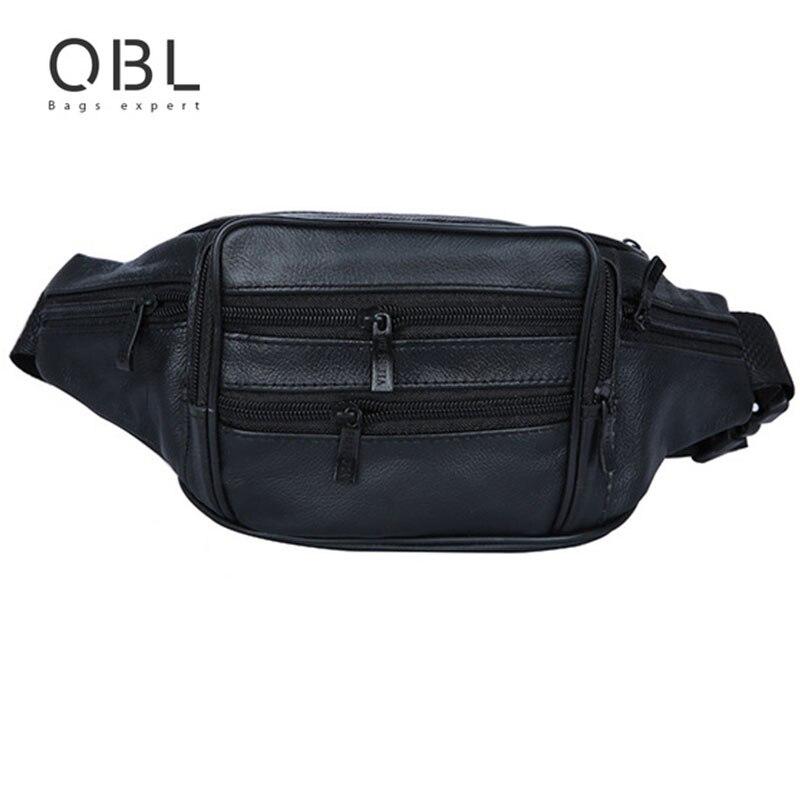 QiBoLu valódi bőr Crossbody Bum Bag Férfi derék csomag Fanny Pack Utazás Hands-free Pochete Bolso Cintura Homme Borsa MBA22
