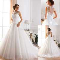 Vestido De Noiva Romantic Sleeveless Ball Gown Appliques Tulle Wedding Dresses 2018 Bridal Gowns With Long Train Plus Size