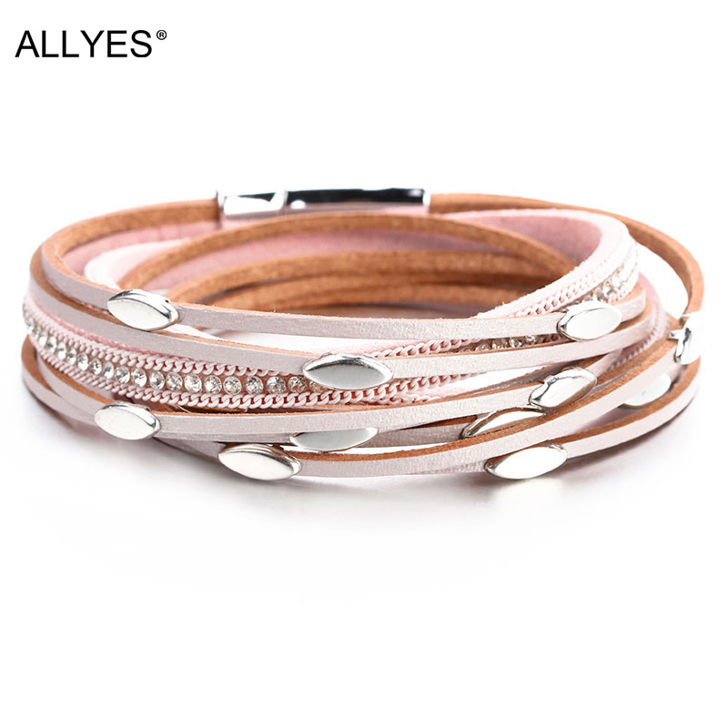 ALLYES Leaf Charm Pink Leather Bracelets for Women 2020 Fashion Crystal Chain Boho Multilayer Wrap Bracelet Femme Jewelry(China)