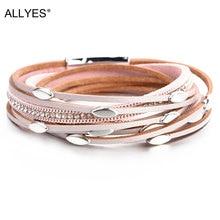ALLYES Pink Color Leather Bracelets For Women 2019 Fashion Leaf Charm Crystal Boho Multi Layer Wrap Bracelet Femme Jewelry