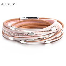 ALLYES Pink Color Leather Bracelets For Women 2019 Fashion Leaf Charm Crystal Boho Multi Layer Wrap Bracelet Femme Jewelry(China)