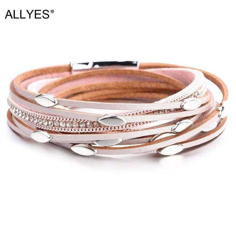 ALLYES rose couleur cuir bracelets pour Femme 2019 mode feuille charme cristal Boho Multi couche Wrap Bracelet Femme bijoux