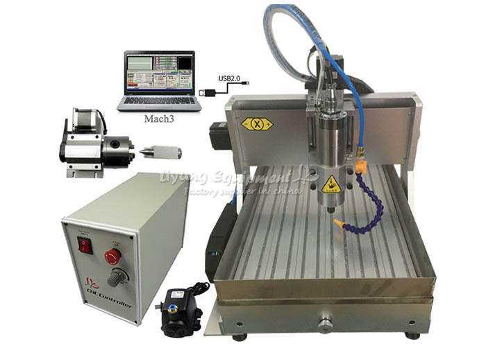 CNC Engraving Drilling and Milling Machine 6040 Z-VFD 800W USB 4axis cnc router with water tank for wood metal aluminum carving