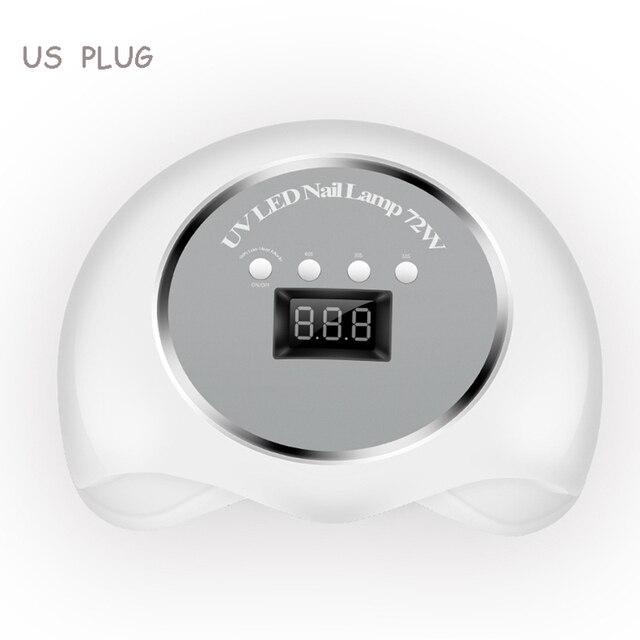 Светодиодная лампа для сушки ногтей, 2 ручные 72 Вт для сушки ногтей для отверждения всех видов гель-лака, высокая мощность, быстрая сушка, УФ-...