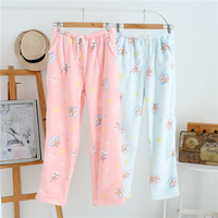 Hot Sale Winter Thick Flannel Striped Women Sleep Bottoms Casual Home Trousers Soft Keep Warm Sleep