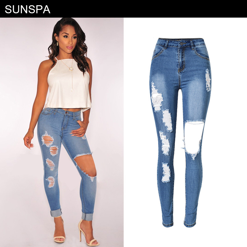 Bottoms 2017 Summer Skinny Hole Ripped Jeans Woman Blue Denim Vintage Straight Casual Jeans Feminino Mid Waist Pants Femme Mujer Female Women's Clothing