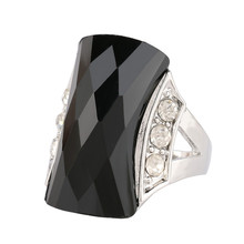 Vintage Punk Rock Antique Silver Big Black/Green Resin Crystal Stone Ring Fashion Women Gift Party Finger Jewelry anelli donna