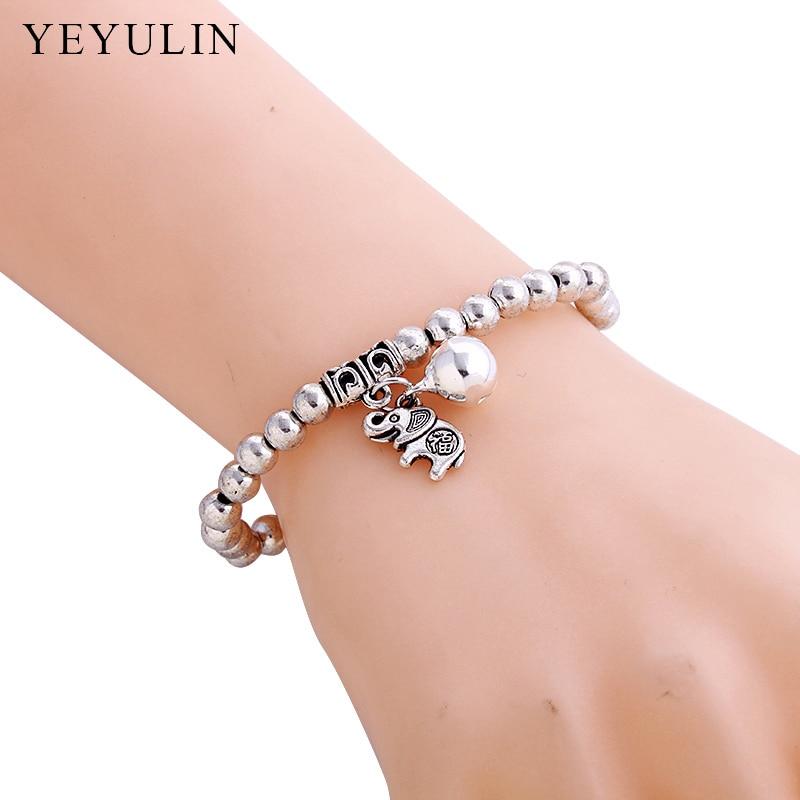 Trendy Verzilverd Olifant Hanger Charm Armband 3mm Lichtmetalen Kralen Ketting Armband Voor Vrouw