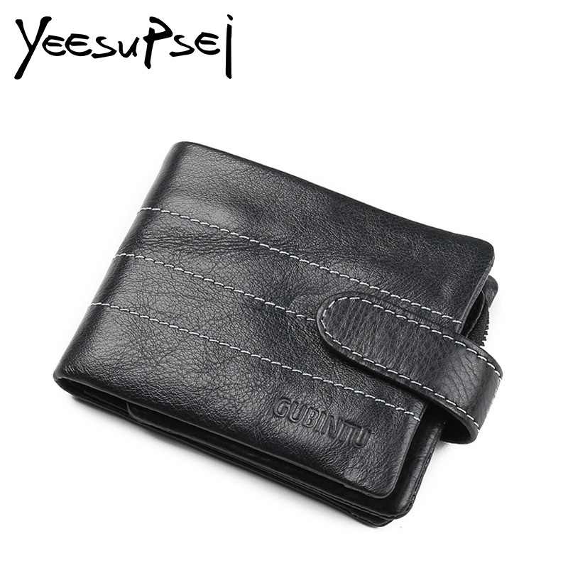 YeeSupSei Genuine Leather Men Wallet Casual Mini Walet Soft Purse with Photo Holder Card Luxury Brand Hasp Bull Male Money Bags