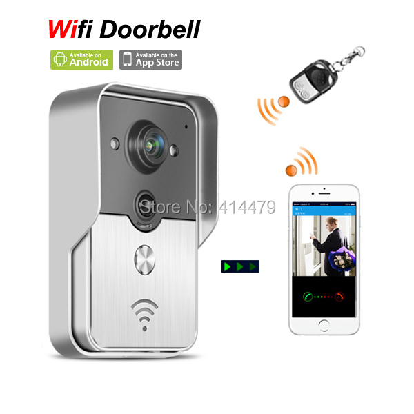 Wireless Wfi IP Video door phone Doorbell Intercom Peephole Camera via Mobile Smart phone Control Unlock Recording Alarm ip video door phone intercom system wireless control ip camera video intercom remote control smart doorbell via smartphones