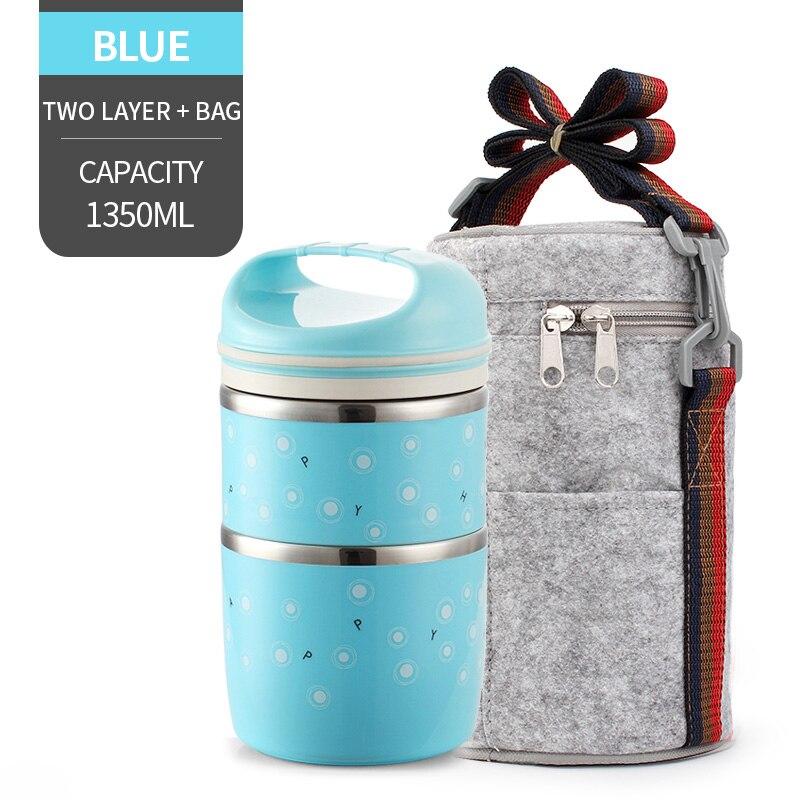 Милые детские Термальность Коробки для обедов герметичность Нержавеющая сталь Bento box для детей Портативный Пикник школа Еда контейнер Box - Цвет: NO. Blue 2 With Bag
