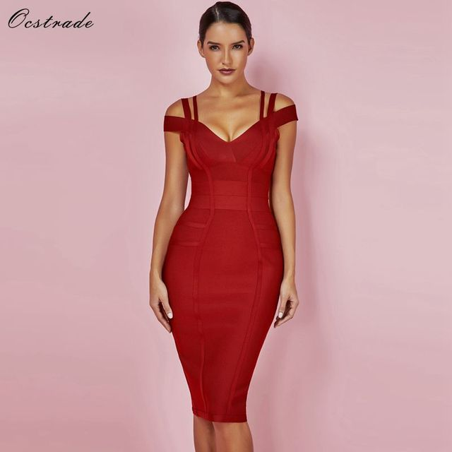Ocstrade New Women Bodycon Dress 2019 Summer Sexy Bandage Off Shoulder Sexy High Quality Wine Red Bandage Dress Rayon Plus Size