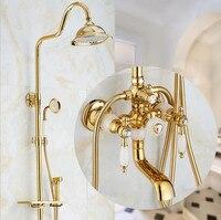 Brass and Jade Shower Faucet Luxury Brass Rain Shower Set Wall Mount Gold Bathroom Faucet With Slide Bar Bathtub Faucet