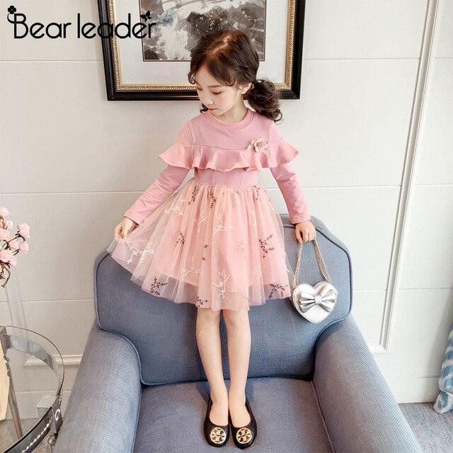 Bear Leader Girls Dress 2018 New Autumn Kids Clothes Long Sleeve O-neck Striped Bunny Rabbit Appliques Design for Girls Dresses