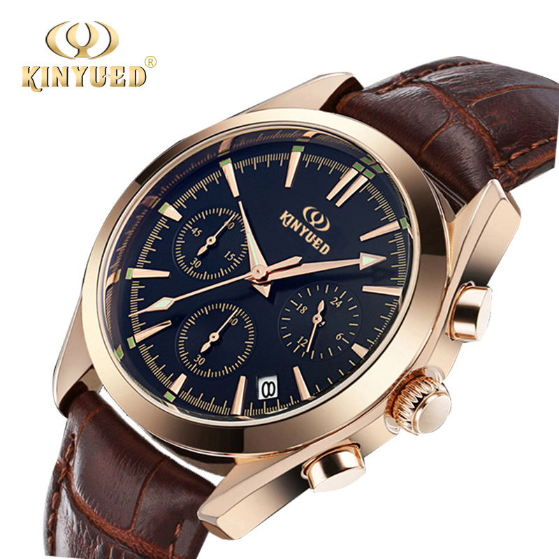 KINYUED Luxury Brand Mens Watch Business Date Quartz Wristwatch Stopwatch Genuine Leather Watches Rose Gold Relogio Hombre