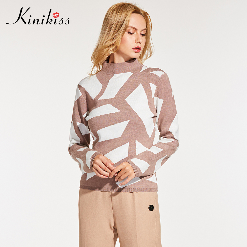 Women Geometric Sweater Knitwear Elegant Long Sleeve Color Block Pullover 2018 Fall Lady Casual Office Knitted Sweater
