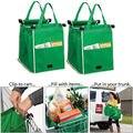 Trolley Grande de Clip-To-Carrito De Compras reutilizable Bolsas Portátil Bolsa De Tela Verde Plegable Tote Bolsos