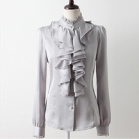 2017 Spring Long Sleeve Satin Shirts Women Ruffles Satin Blouses Women Office Work Wear Ruffles Blouses