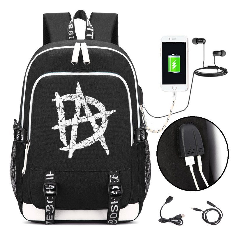 Dean Ambrose Backpack with USB Charging Port and Lock Headphone interface for College Student Work Men