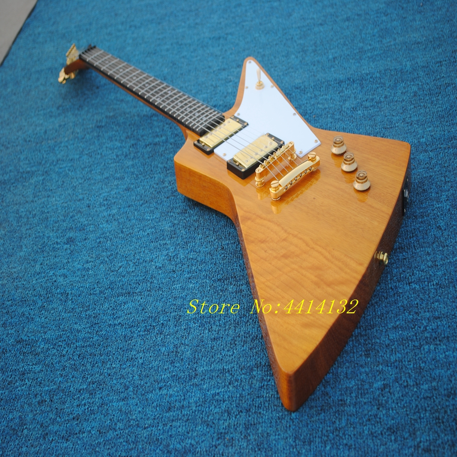Golden hardware explore Electric Guitar,Solid Mahogany Goose shape Electric guitar,Factory custom shop,Free shipping high quality custom shop lp jazz hollow body electric guitar vibrato system rosewood fingerboard mahogany body guitar