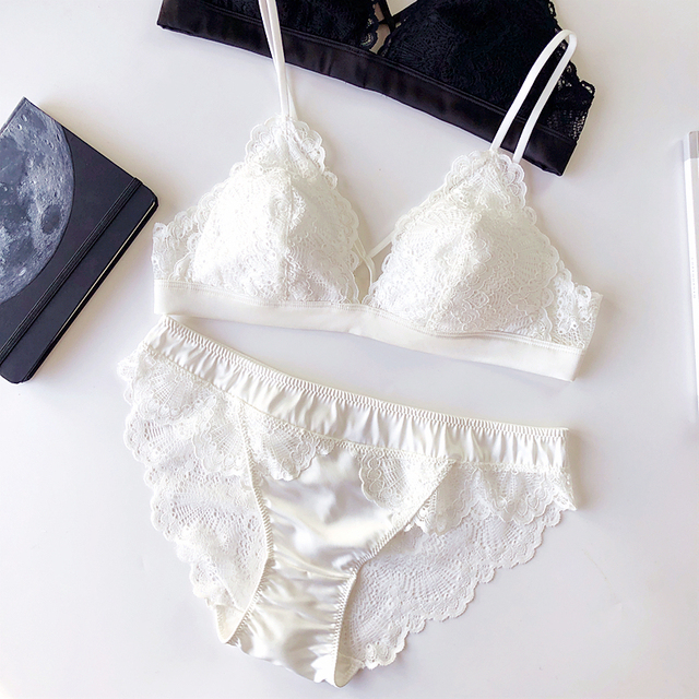 Thin Cotton Women Lingerie Sexy Embroidery Lace Underwear Sets High Quality Bra Set 3/4 Cup Brand Sexy Intimates Bra & Brief Set 4