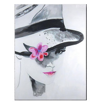 Beautiful Woman Wearing A Hat 100% Handmade Abstract Figure Oil Painting on Canvas Wall Art Picture For Bedroom Decora