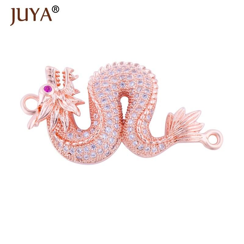 Jewelry Making Supplies Punk Rock Style Dragon Charm Connectors For Men Women Bracelet Making Micro Pave CZ Copper Accessories