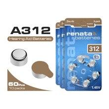 60PCS/10 Cards Hearing Aid Batteries A312 312A ZA312 312 PR41 S312, 60 PCS Battery 1.45V 165mAh Zinc Air