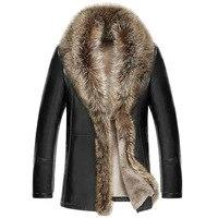 M 5XL 2018 Новинка зимы Для мужчин кожаная куртка из овечьей шерсти Куртки из кожи утепленные меховой воротник jaqueta masculino плюс Размеры одежда