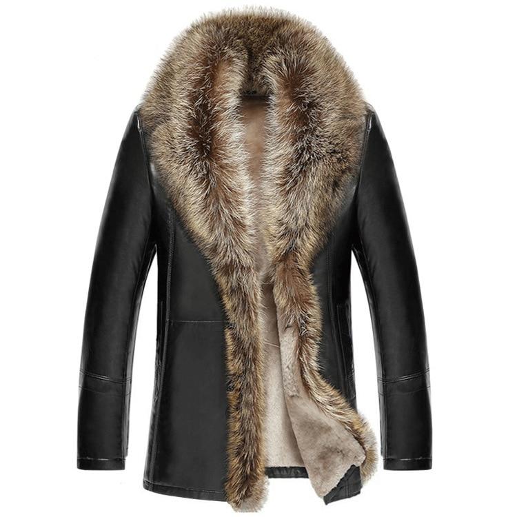 M 5XL 2018 Winter New Men Leather Jacket Lambswool Genuine Leather Coats Thicken Fur Collar Jaqueta