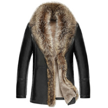 M-5XL 2018 Новинка зимы для мужчин Кожаная куртка овечьей шерсти пояса из натуральной кожи пальто для будущих мам утолщаются меховой воротник