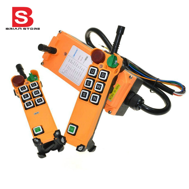 220VAC 6 Channel 1 Speed 2 transmitters Hoist Crane Truck Radio Remote Control System with E-Stop free shipping 6 channel 1 speed 2 transmitters hoist crane truck radio remote control push button switch system with e stop