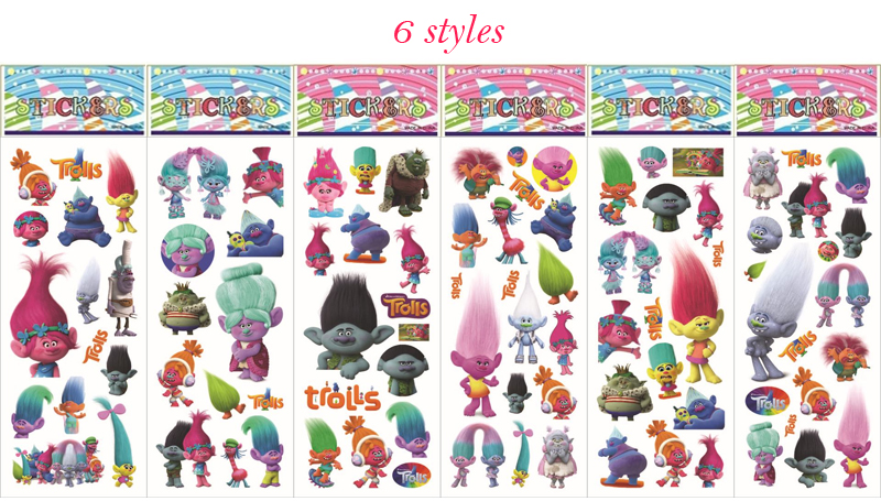 10sheets Trolls Stickers Toy 3D Foam Cartoon Stickers Toy Birthday Party Decoration for Kids Gifts 6 styles Mix image