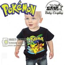 Pokemon Go Crianças Meninos Da Criança Do Bebê Tee camiseta Tops Tamanho da roupa 1T-2T-3T-4T Cool Boy Roupas de Algodão camisas de T para crianças