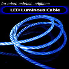 LED Luminous Glowing Usb Cable Phone Charger Cable Cord Led Light Cabel 1m 100cm for Apple Iphone X 8 7 6s Plus Xiaomi Mi 9 HTC